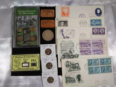Junk Drawer LOT Vintage US Silver Dimes, .999 Silver, 1922 Peace Dollar, 999 Cop