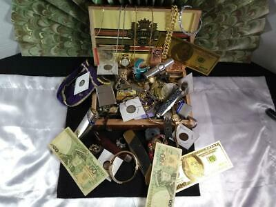 Junk Drawer LOT Cigar Box, Lighters, Sterling, Knives, US Silver Coins, Watches
