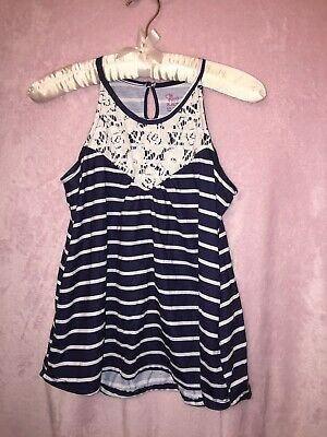 df9b90db2635 TCP The Childrens Place Little Girl White Lace Tank Top Shirt Size Large  10/12