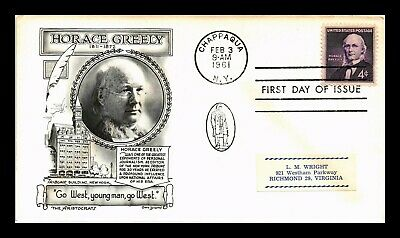 Dr Jim Stamps Us Horace Greely First Day Aristocrats Cover Chappaqua