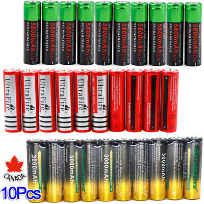 10pc 5800mAh 18650 Battery 3.7V Rechargeable Battery Smart Charger For LED Torch