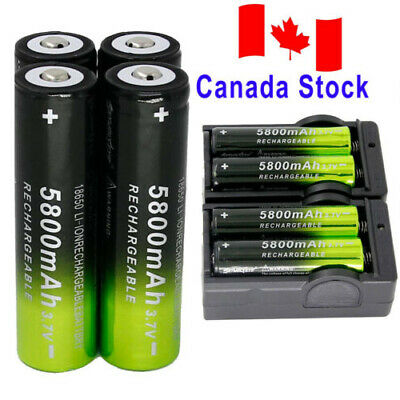 8x 5800mAh 18650 Battery 3.7V Rechargeable Batteries +2x Smart Charger For Torch