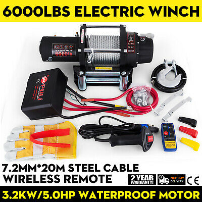 6000lbs 12V Recovery Electric Winch Trcuk Trailer Rope Remote Control