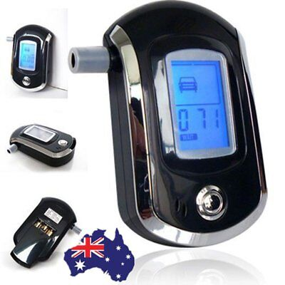 New Black Police Digital Breath Alcohol Analyzer Tester Breathalyzer test LCD 3d