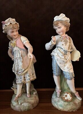 Antique French Paul Duboy Pair Of Bisque Figurines Of Kids