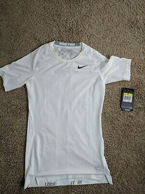 05262b7c NWT Mens Small Nike Pro Combat Compression Short Sleeve Shirt White Dri Fit