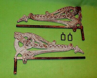 2 antique CAST IRON Art Deco SWING ARM curtain rods / mounting brackets tiebacks