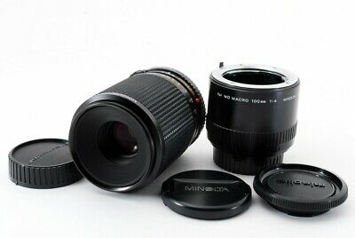 Excellent++ Minolta MD 100mm f/4 MACRO Lens w/ Extension Tube from Japan