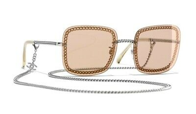 27dc4c0c214e CHANEL 4244 Square Silver Frame Light Brown Lens with Chain Sunglasses  %100Auth
