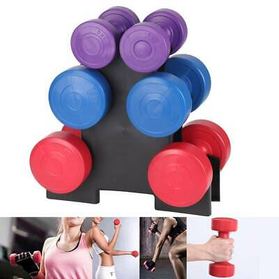 NEW! 12kg Vinyl Hand Dumbbells Workout Weight Set Including Stand Weights
