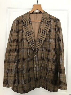 VINTAGE Hardy Amies Hepworths Plaid Check Brown Wool Blazer Sports Jacket 46""