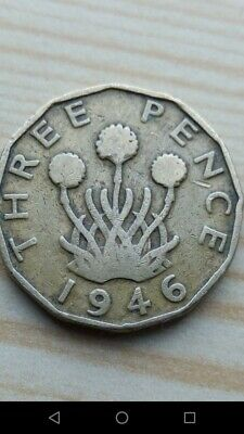 1946 threepence 3d, rare key date coin. George 6th  ( FREE UK POST )