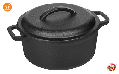 Cast Iron Dutch Oven with Dual Handle Pre-Seasoned Pot Lid Kitchen Cookware 5 qt