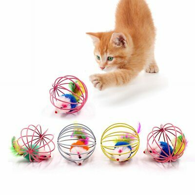 Cat Interactive Toy Stick Feather Wand Small Bell Mouse Cage Plastic Artificial