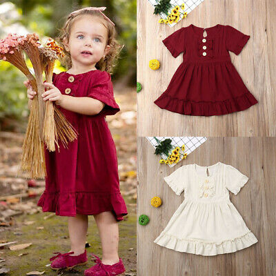 AU Toddler Infant Baby Girls Clothes Short Sleeve Dress Sundress Holiday Outfit