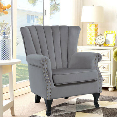 Wondrous Wing Back Chair Velour Fireside Living Room Lounge Pdpeps Interior Chair Design Pdpepsorg