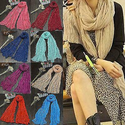 Long Voile Scarf Thin Women Warm Soft Candy Color Linen Shawl Winter Ladies