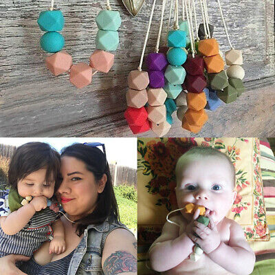 Baby Hexagon BPA Free Silicone Beads Teething Teether Baby Sensory Necklace Hot