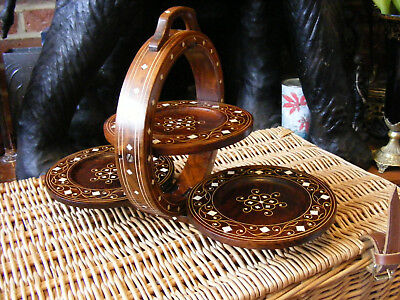 Vintage Indian Style Rosewood Inlay Wooden Folding Three Tier Cake Plant Stand