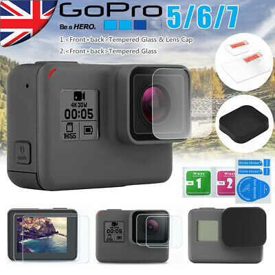 9H HD Tempered Glass Protector Cover Case For Gopro Hero 5 6 7 Camera Lens Cap