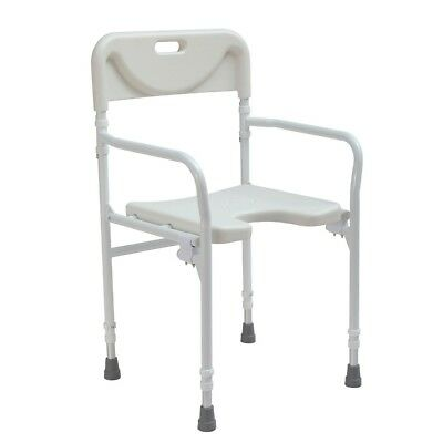 Folding wetroom shower seat stool lightweight adjustable height with back - DEMO