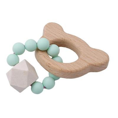 Wooden Animal Teether Baby Teething Bracelet Chewable Silicone Beads Toy S3