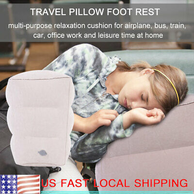 Travel Inflatable Footrest Air Inflation Pillow Relax Footstool Grey 1 HOLE