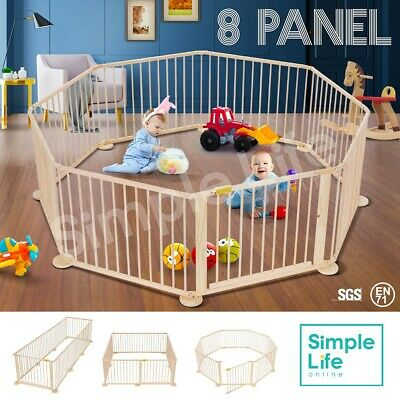 8-Panel Wooden Kids Pet Baby Playpen Foldable & Removable - Burlywood