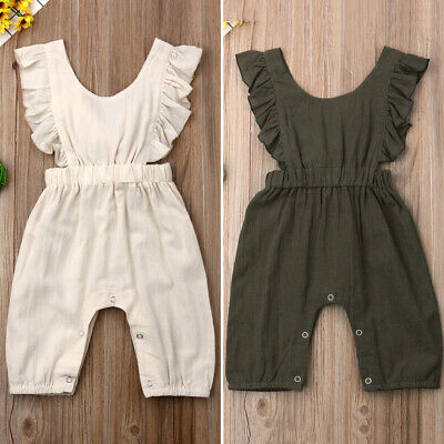AU Summer Toddler Baby Girl Clothes Ruffle Solid Romper Bodysuit Jumpsuit Outfit