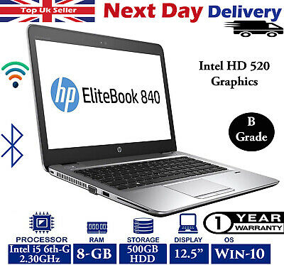 "HP EliteBook 820 G3 12.5"" Laptop Intel i5 6th-Gen 2.3Ghz 8GB RAM 500GB HDD Win10"