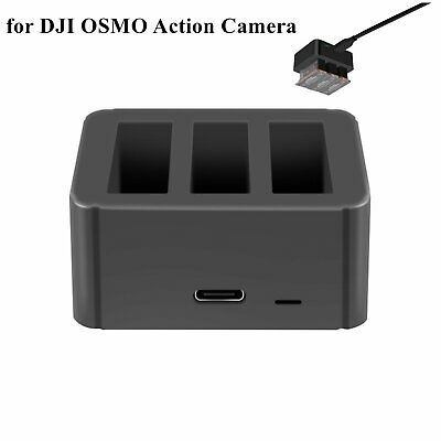 For DJI OSMO Action Camera Portable Three-port Charger Battery USB Charging Box