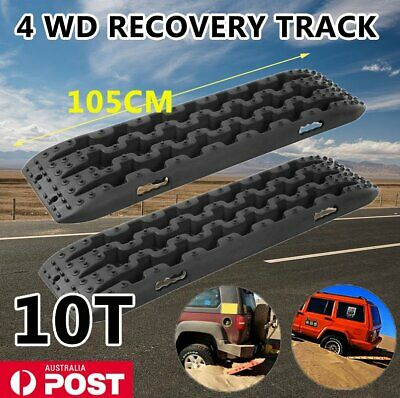 2X 10T Black 4WD Recovery Tracks Off Road 4x4 Snow Mud New Sand Track Black FY