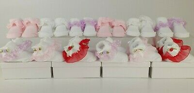 12 Pairs My London Girl Newborn Baby Socks 0-6 Months Frilly Bows Gift Set Boxed