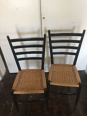 Vintage Pair of Mid-Century Mod Gio Ponti Style Ladder Back Chairs Italy