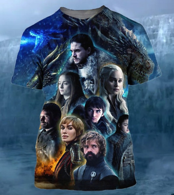 Fashion MenWomen Casual T-Shirt Cosmos Game Of Thrones 3D Print Short Sleeve Top