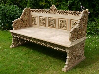 Cool Stunning Garden Bench Hand Carved Teak Wood Garden Creativecarmelina Interior Chair Design Creativecarmelinacom