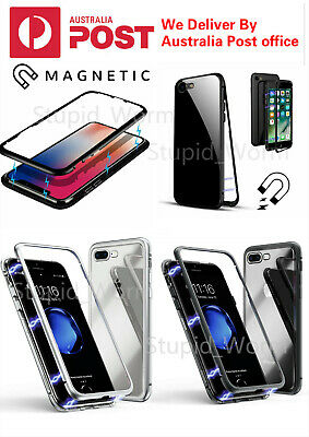 For iPhone X/XS/MAX 6/7/8 Plus Magnetic Metal Dual Tempered Glass Phone Case
