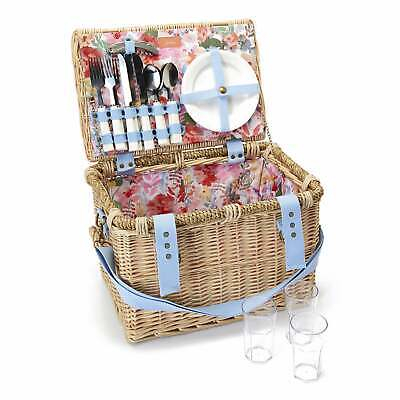 Joules Wicker Picnic Basket - White Floral - Were £89.95 Now £69.95
