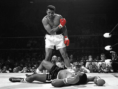 Muhammad Ali Red Gloves Boxing Poster Art Print Black & White Card or Canvas