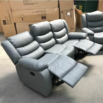 Enjoyable Kenzo 3 Seater Grey Leather Recliner Sofa Clearance Brand Bralicious Painted Fabric Chair Ideas Braliciousco