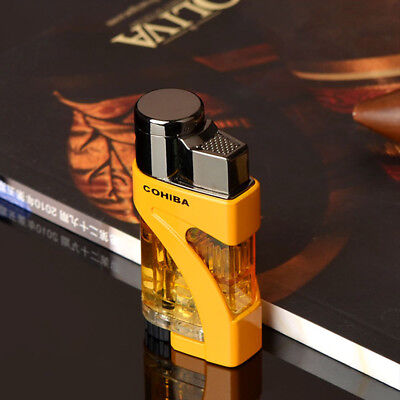 COHIBA Yellow Transluce Metal & Plast 2 Torch Jet Flame Cigar Cigarette Lighter