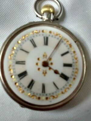 Antique Solid Silver Ladies Pocket Watch - Serviced And Running Well