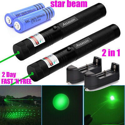 2PC 60 Miles Green Laser Pointer Pen Bright Star Light Visible Beam Torch Lazer