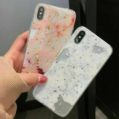 For iPhone 6 7 8 Plus X Case Marble Iridescent Holographic Holo Phone Cover de