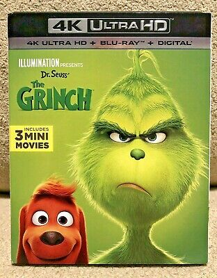 Dr. Seuss' The Grinch (4K Ultra HD Blu-ray/Blu-ray, 2019) Includes slipcover!