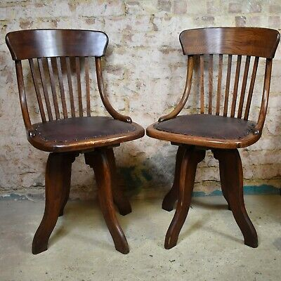 Antique Oak Swivel Chairs Simpoles of Manchester Vintage Price per Chair 4 Avail