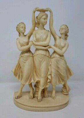 Vintage Signed Sculpture A. Santini Three Graces Crowning Venus Italy
