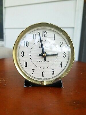 Vintage Westclox USA Baby Ben Wind Up Alarm Clock Works Great Black w/ Gold Trim