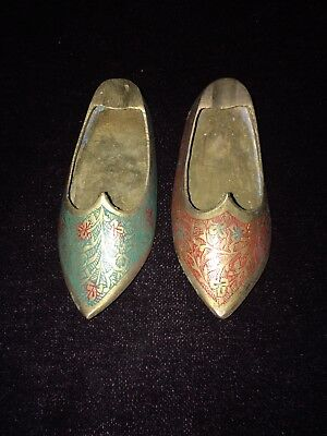 Vintage Collectible Set of 2 Solid Brass India Shoes Ashtray Ornate Fancy