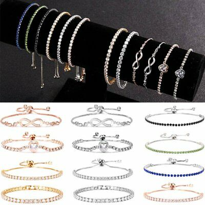 Chic Cubic Zircon Crystal Charm Friendship Bracelet Bangle Women Bridesmaid Gift